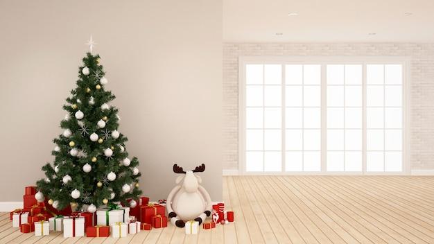 Choinka, lalka renifera i pudełko w pustym pokoju grafika na boże narodzenie
