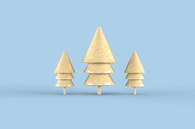 Choinka minimalistyczna tapeta. renderowanie 3d. wesołych świąt bożego narodzenia koncepcja