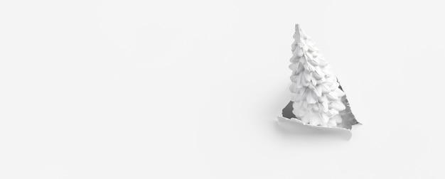 Choinka na białym tle, minimalistyczna koncepcja