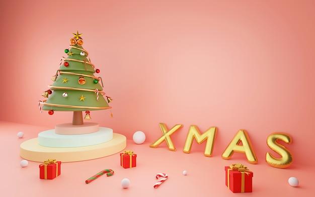 Choinka na podium z xmas balonem i boże narodzenie ornamentami na różowym tle, 3d rendering