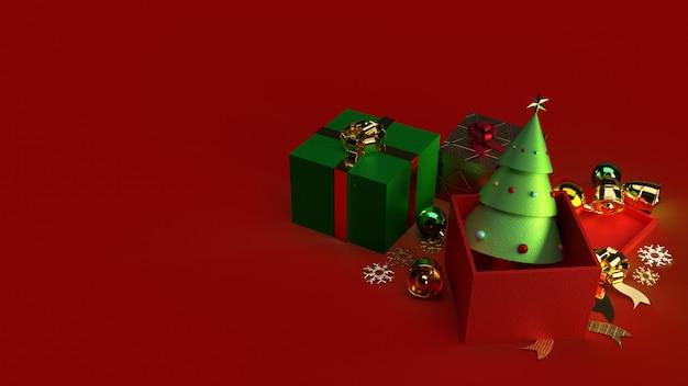 Choinka w szkatułce renderowania 3d dla treści bożego narodzenia.