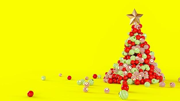 Choinka wykonana z kolorowych kulek na żółtym tle.