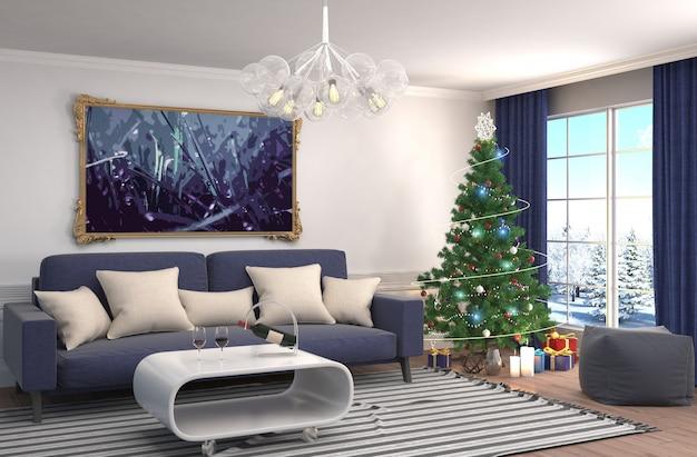 Choinka z dekoracjami w salonie