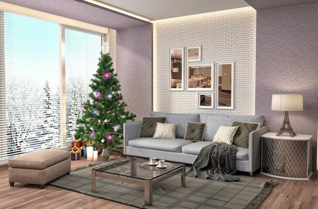 Choinka z dekoracjami w żywym pokoju odpłacał się ilustrację