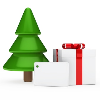 Choinka z prezentem i etykiety