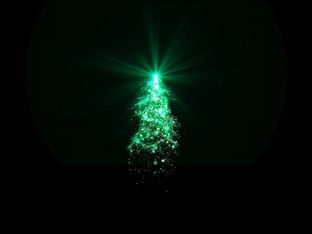 Choinka z zielonymi światłami płatkami śniegu i gwiazdą na czarnym tle