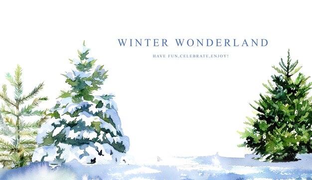 Choinki w śnieżnym banerze malowane akwarelą.