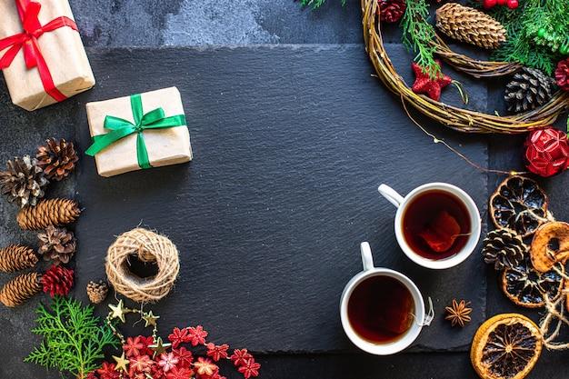 Christmas tea party background gift prezent na nowy rok