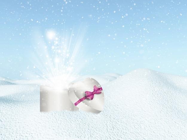 Christmas tła z sercem w kształcie pudełko w śniegu