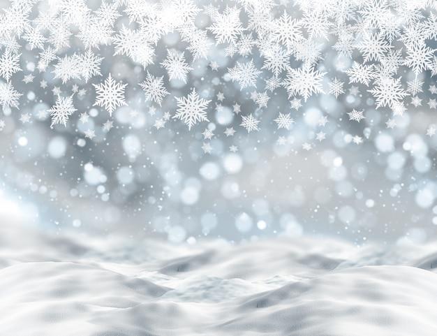 Christmas tła z śniegu i światła bokeh