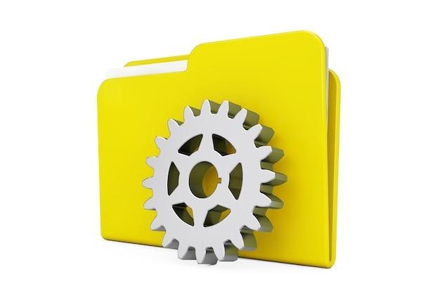 Chromowane koło zębate przed żółtą ikoną folderu na białym tle. renderowanie 3d