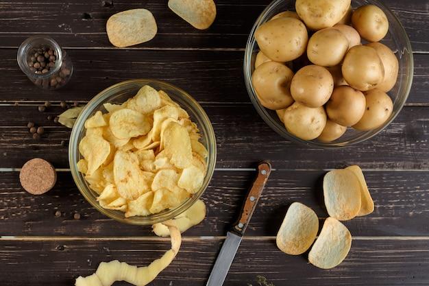Chrupiące frytki i surowe ziemniaki