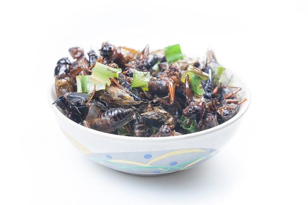 Chrupiące smażone owady z tajskiego menu.