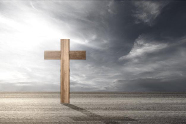 Chrześcijański krzyż na drewnianym stole na tle dramatycznego nieba