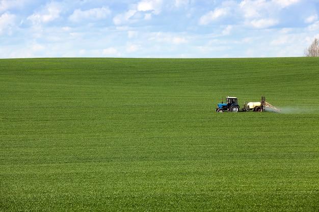 Ciągnik w polu zielone pole uprawne ze zbożami, które są przetwarzane przez traktor