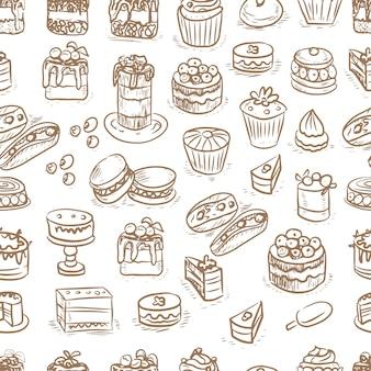 Ciasta ciasta babeczki grafika grawerowanie szkic ręcznie rysowane obrazek słodkie jedzenie menu gotowanie doug...