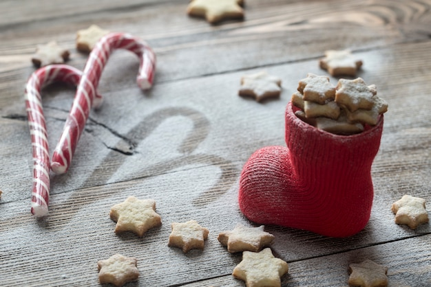Ciasteczka maślane w pończochach świątecznych