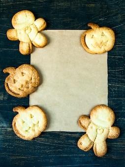 Ciasteczka na halloween i święto dziękczynienia. śmieszne jedzenie dla dzieci, przekąska na imprezę.