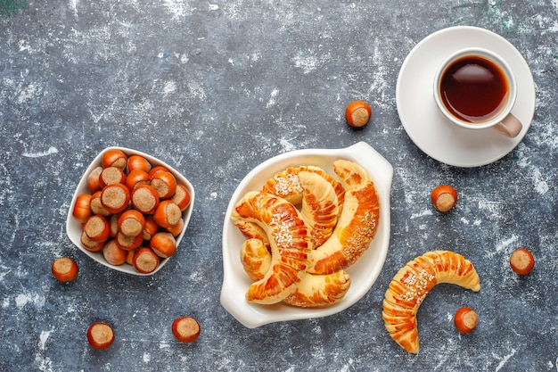Ciasteczka z orzechów laskowych z orzechów laskowych, widok z góry