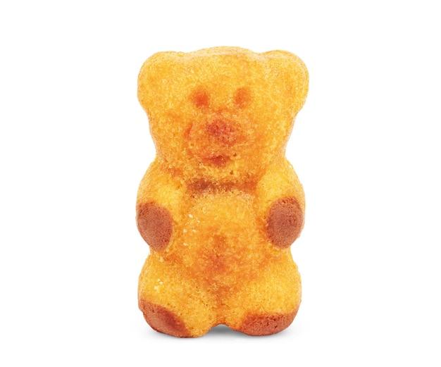 Ciastko w formie niedźwiedziego wzoru na białym tle izolacji