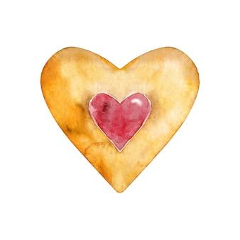 Ciastko w kształcie serca akwarela