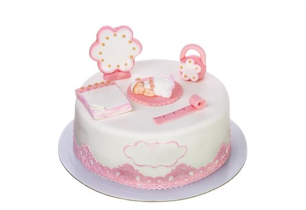 Ciasto dekoracyjne dla noworodka na chrzest. na białym tle.