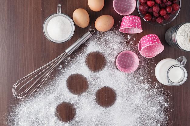 Ciasto do pieczenia, składnik, mąka, miejsce, widok z góry