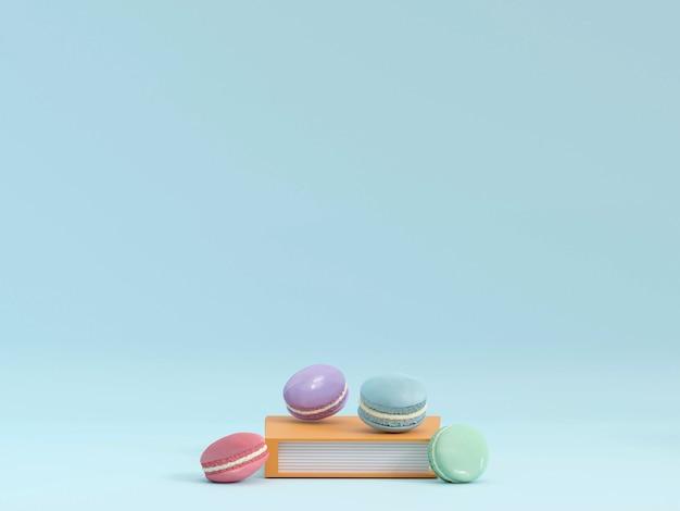 Ciasto makaronik lub makaronik na turkusowym tle z góry kolorowe renderowanie 3d