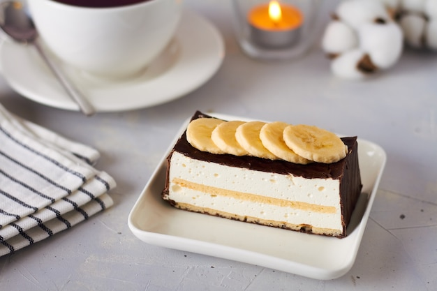 Ciasto sufletowe z mleka gołębia (ptasiego mleka) z bananem