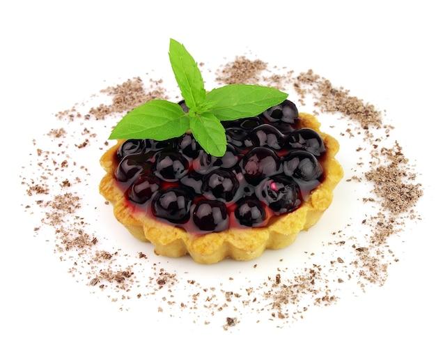 Ciasto ze świeżymi jagodami i miętą