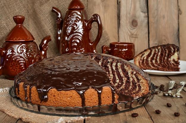 Ciasto zebra z polewą czekoladową
