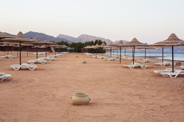 Cicha plaża taba ze słomianymi parasolami o zmierzchu