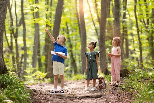 Ciekawskie dzieci uczestniczące w poszukiwaniu skarbów