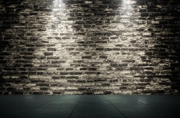 Ciemna ceglana ściana oświetlenie tło z kamiennymi płytkami podłogowymi wyświetlaczem produktów!