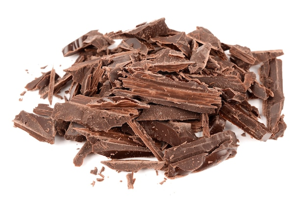 Ciemna czekolada na białym tle