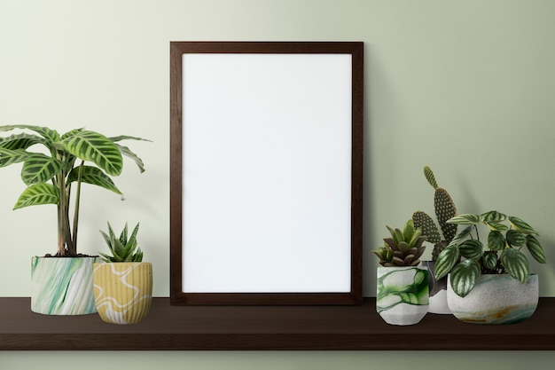 Ciemna nowoczesna ramka na zdjęcia na półce z roślinami