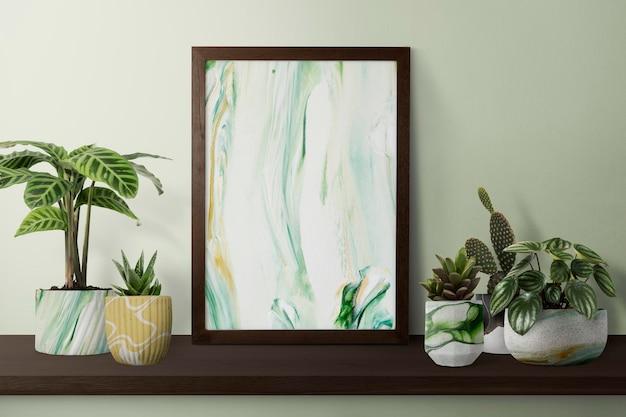 Ciemna nowoczesna ramka na zdjęcia na półce