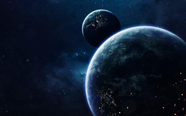 Ciemna przestrzeń kosmiczna z gigantycznymi planetami w kosmosie