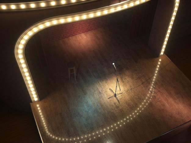 Ciemna, pusta scena kabaretu komediowego. ilustracja 3d