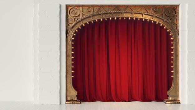 Ciemna, pusta scena kabaretu lub klubu komediowego z czerwoną kurtyną i secesyjnym łukiem. renderowania 3d