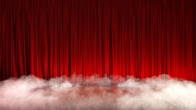 Ciemna, pusta scena z bogatą czerwoną kurtyną i dymem. ilustracja 3d