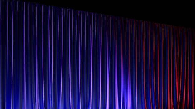 Ciemna, pusta scena z bogatą niebieską aksamitną zasłoną. ilustracja 3d