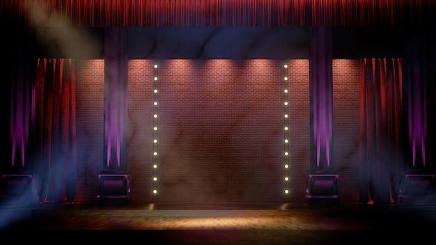Ciemna, pusta scena z punktowymi światłami. komedia, standup, kabaret, klub nocny na scenie renderowania 3d.