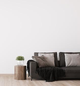Ciemna sofa w skandynawskim stylu salonu