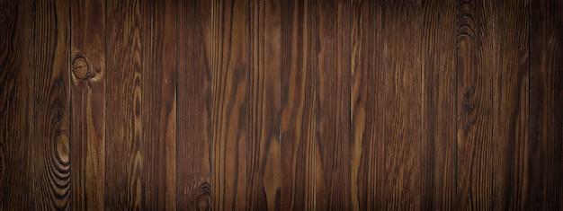 Ciemna tekstura ściana z brązowej deski, tło drewnianej powierzchni, panoramiczny widok