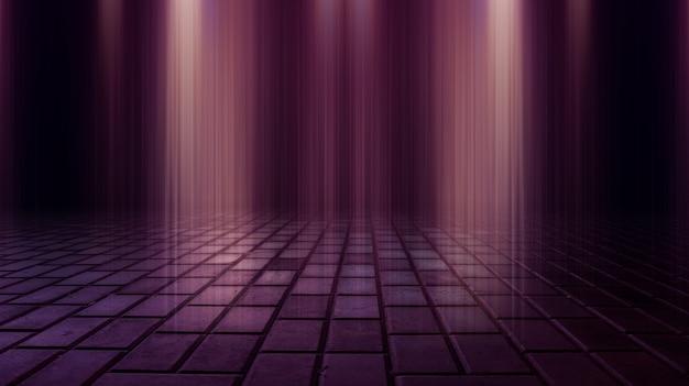 Ciemna ulica mokre asfaltowe odbicia promieni w wodzie streszczenie ciemnoniebieskim tle dym smog puste ciemne sceny neon light spotlights