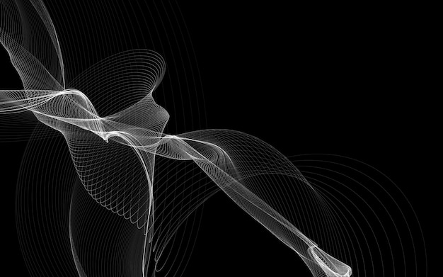 Ciemne abstrakcyjne tło ze świecącymi abstrakcyjnymi falami, abstrakcyjne tło
