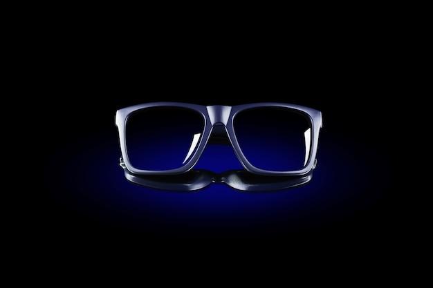 Ciemne klasyczne okulary przeciwsłoneczne w kręgu niebieskiego światła na czarnej odblaskowej powierzchni.