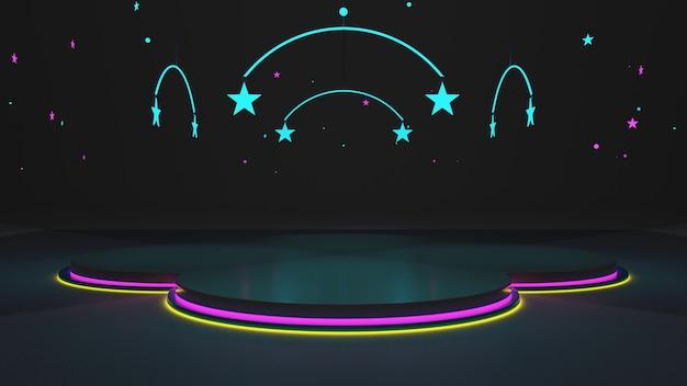 Ciemne pokoje nadają nowoczesny wygląd, a szkło tworzy wymiar. neony i żółte, różowe, niebieskie gwiazdy renderowania 3d.