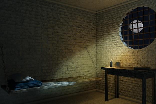 Ciemne stare wnętrze celi więziennej dla jednej osoby z ekstremalnym zbliżeniem łóżka i stołu. renderowanie 3d